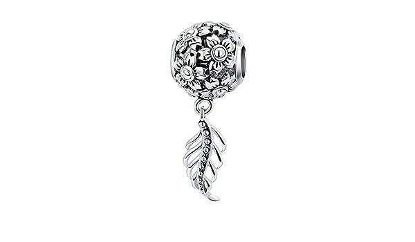 EverReena Genuine Vintage Flowers Charm Silver Beads Bracelets