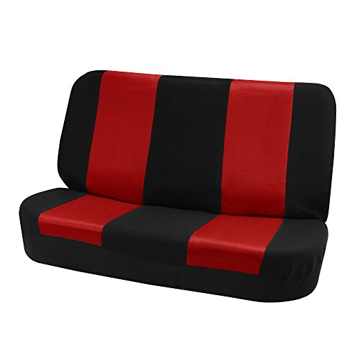 Fabric Rear Bench Jeep Seat - FH-FB102010 Classic Cloth Solid Bench Seat Cover Red / Black- Fit Most Car, Truck, Suv, or Van
