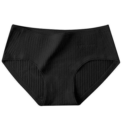 (Sinfu Women's Soft & Comfy Underwear Mid-Waist Stripe Epoxy Lace Trim Ladies Triangle Thong Panties (M, Black))