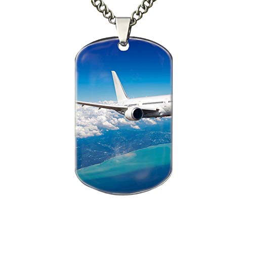 PANQJN Longest Airplane Flight Pet Necklace ID Tags- Solid Aluminum, Personalized Dog & Cat Pet Identification. ()