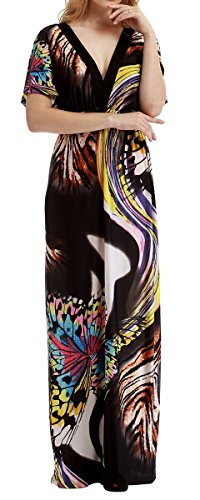 Casual Lounge Vintage Ethnic Flaming Exotic Ruched Slim Trim Midi Dress Blouson Sundress Outfit for Women Size 4XL,Black with Butterfly,18/20 Plus