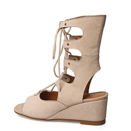 Minivog Mujeres Strappy Square Toe Pump Zapatos Albaricoque