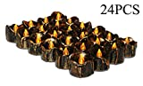Halloween House Decoration, Led Battery Operated Flickering Black Fake Electric Small Plastic Flameless Dropless Outdoor Indoor Home Party Pumpkin Decorative Halloween Decoration Candle Supply, 24PCS