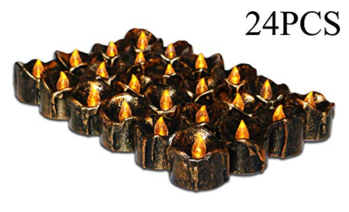 Halloween Party Ideas, Led Battery Operated Flickering Black Fake Electric Small Plastic Flameless Dropless Outdoor Indoor Home Party Pumpkin Decorative Halloween Decoration Candle Supplies, 24PCS for $<!--$20.99-->