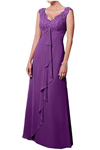 V Damen Abendkleider Herrlich Rock A Spitze Langes Chiffon Violett Weiss Ausschnitt mia Braut Brautmutterkleider Linie La Ballkleider qXTvBRxwn0