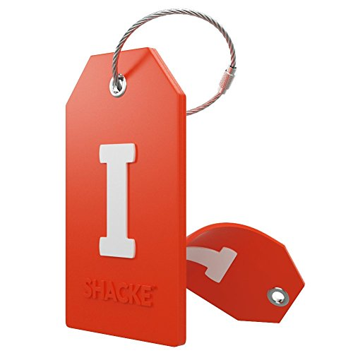 Steel Stainless Tags Luggage (Initial Luggage Tag with Full Privacy Cover and Stainless Steel Loop – (Letter I))