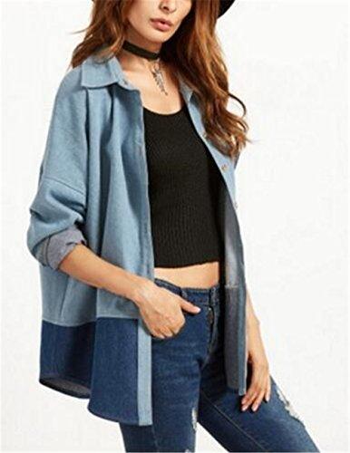Kerlana Casual Jacket Cappotto Tasche Cowboy Cappotti Manica Di Giacca Blue Lunga Cucitura Giacche Donna Denim Jeans Bottone Moda Con rw7rqg4z