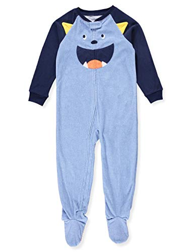 Carter's Baby Boy's 12M-5T One Piece Fleece Pajamas, Blue Monster, 5T