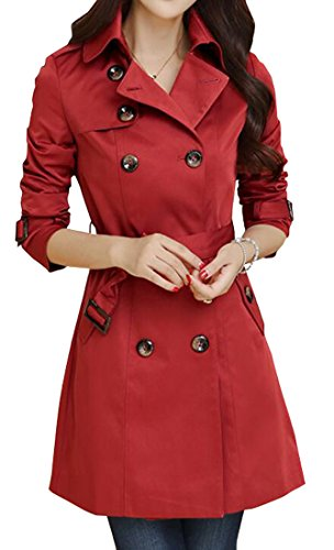 Womens Elegant Lapel Double Breasted Belted Slim Trench Coat Wine