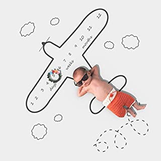 Airplane Baby Blanket | Newborn Monthly Milestone Photo Blanket - Baby Boy Age Blanket for Growth Keepsake Photo & Baby Shower Gifts