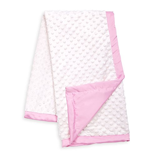 White Minky Dot Baby Blanket, Reverses to Pink Satin, by The Peanut Shell (Border Pink Baby)