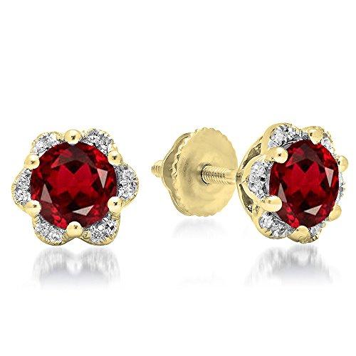 10K Yellow Gold Round Cut Garnet & White Diamond Ladies Flower Shape Cluster Fashion Stud Earrings (Yellow Gold Ladies Cluster)