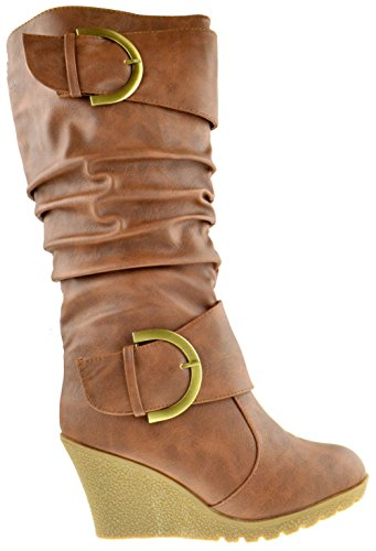 Top Moda Pure 65 Womens Slouch Wedge Boots Tan 9 by Top Moda (Image #1)