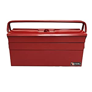 Excel TB122B-Red 5-Tray Cantilever Metal Tool Box, Red