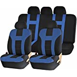 Universal Full Set of Car Seat Covers - Double Stitched Racing Style - Black and Blue Uaa003