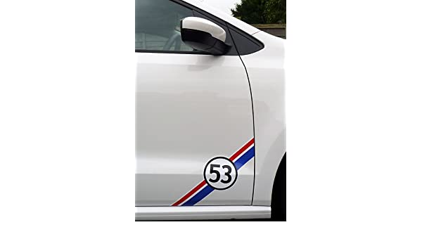 Amazon.com: VW HERBIE 53 side door decal 2pcs. Set 40cm (red Ð white Ð blue Ð black): Automotive
