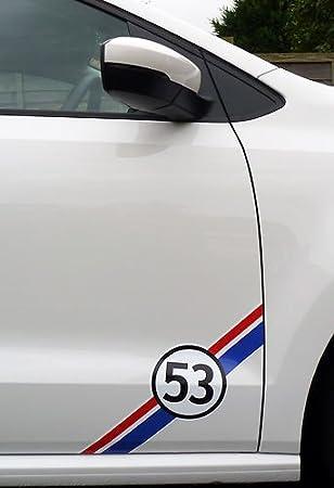 VW HERBIE 53 side door decal 2pcs. Set 40cm (red Ð white Ð blue