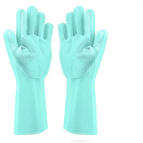 Cartshopper Dishwashing Gloves with Wash Scrubber + Magic Silicone Gloves + Heat Resistant + Reusable Cleaning Gloves…