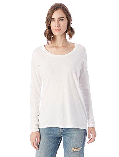 Alternative Women's Satin Jersey the Charmer Crew Neck Long Sleeve Shirt, White, L
