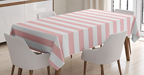 Lunarable Blush Tablecloth, Retro Style Pastel Colored Pink Stripes on White Background Vintage Geometric Design, Dining Room Kitchen Rectangular Table Cover, 52 W X 70 L inches, Rose (Pastel Pink Stripe)