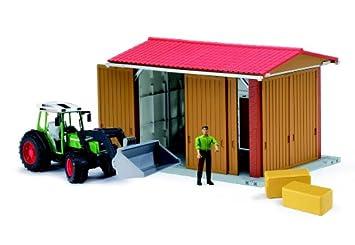 Bruder 62620 - Cobertizo con figura, accesorios y tractor con pala Fendt 209 S: Amazon.es: Juguetes y juegos