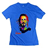 HX-Kingdom Womens Casual 100% Cotton Tee - Eddie Vedder Music RoyalBlue