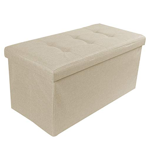 REDCAMP 30 110L Linen Storage Ottoman Bench, Folding Large Ottoman Foot Rest for Bedroom Dorm Sofa, Beige