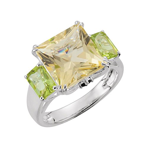 Bonyak Jewelry Lime Quartz, Peridot & Chrome Diopside Ring in Sterling Silver - Size 6