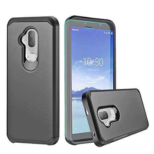 Alcatel 7 Case,Alcatel 7 Folio Case,Alcatel 7 2018/Revvl 2 Plus/7 6062W Case with HD Screen Protector,Slinco Dual Layer Shock Proof Protective Rugged Alcatel 7/Alcatel 7 Folio Phone Case (Black)