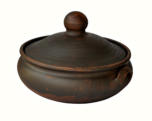 Handmade Clay Cooking Pot 26 Quarts EcoFriendly Medium Stew Casserole Ceramic Kitchen Utensils Cookware Black