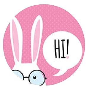 alfombrilla de ratón Tarjeta de felicitación con el conejito divertido. Orejas de conejo de Pascua. - ronda - 20cm