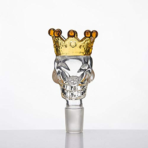likemybaby Skull Crown Glass Herb Holder Smoking Bowl Handmade Stained Water Bottle Gift for a Friend Bowl (2pack 14mm Male Clear Yellow ()