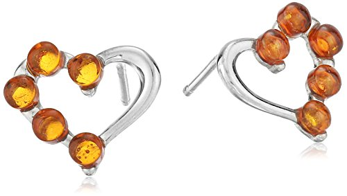 Amber Honey Heart (Rhodium Plated Silver Honey Amber Heart Stud Earrings)