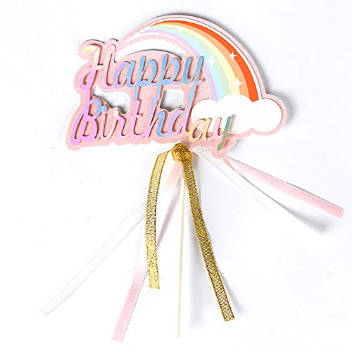 (BLINGBLING Happy Birthday Cake Topper Rainbow with Gold Pink Sliver Silk ribbon - Fashion Cake Cupcake Topper for Baby Neutral Kids Adult Elder- Birthday Party Baby Shower Decorations Party Supplies)