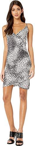 (bebe Womens Ruched Wrap Rhinestone Strap Dress Leopard LG )