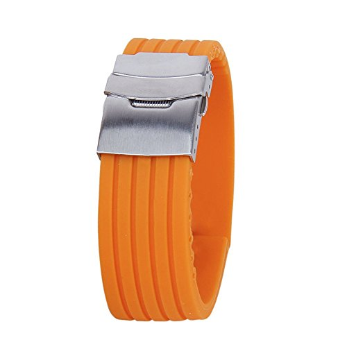 Silicone Rubber Watch Strap Band Deployment Buckle Waterproof 20mm - 8