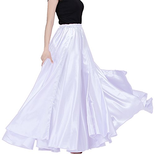 4c76d40221 Satin Long Swing Skirt White Belly Dance Satin Long Dress Elastic Waistband  Design Great Stage Effect - Buy Online in Oman. | Apparel Products in Oman  - See ...