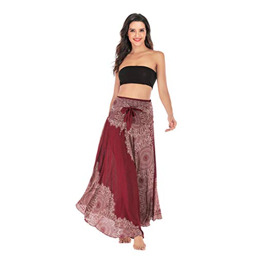 - Women's Long Hippie Bohemian Halter Skirt Gypsy Dress Flowers Elastic Waist Asymmetric Hem Design (Red, Waist: 22.8-39.4