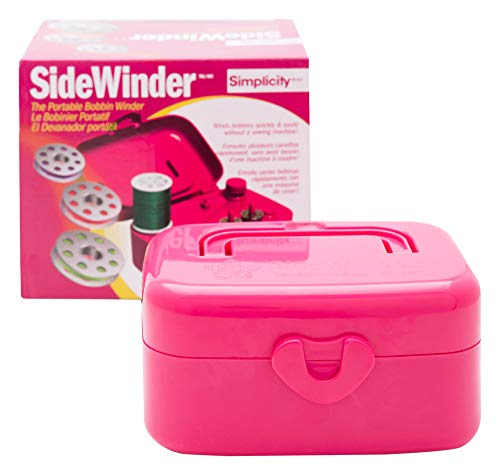 (Simplicity 88182FUSA Compact Pink Portable Sidewinder Bobbin Winder, 5.5'' L x 4'' W)