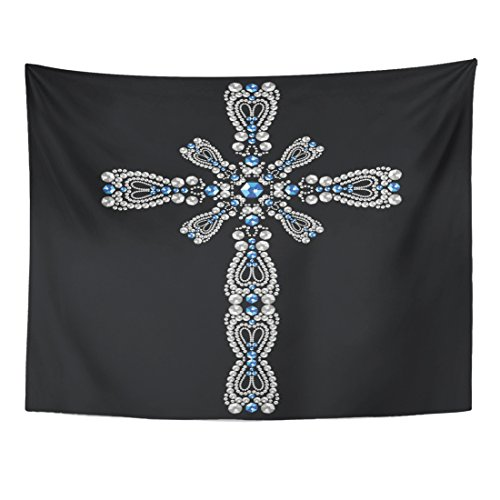 Emvency Tapestry Vintage Beautiful Ornate Christian Cross from Brilliant Stones Silver and Sapphires Rhinestone Applique Home Decor Wall Hanging for Living Room Bedroom Dorm 60x80 Inches (Sapphire Christian Cross)