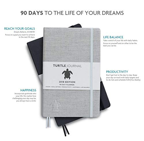 Turtle Journal - Best Daily Productivity Planner and Calendar - Reach Your Goals, Be Productive, Develop Life Balance, Live with Gratitude - Hardcover, Non Dated (Dark Charcoal - 2018)