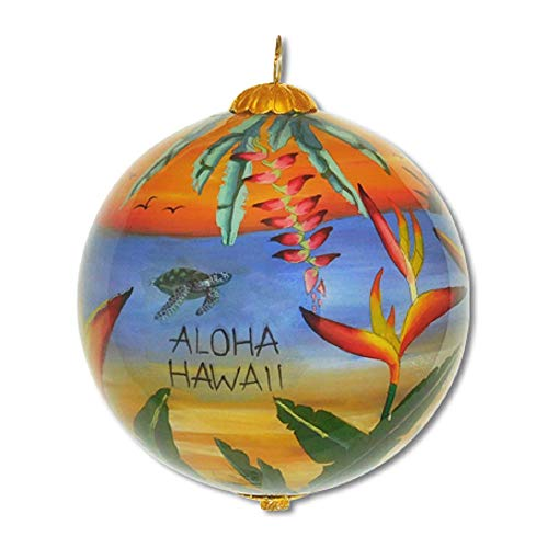 Design Hand Painted Collectible - Maui By Design Hand Painted Hawaiian Ocean Sunset Scene Collectible Glass Ornament Gift Box