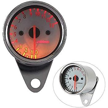 1:4 Black Mini Mechanical Motorcycle Tachometer Tach 12K RPM