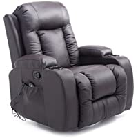 Homcom PU Leather Heated Vibrating Massage Recliner Chair with Remote (Brown)