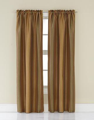 [CHF Industries Faux Silk Stripe Rod Pocket Curtain Panel] (Stripe Rod Pocket Panel)
