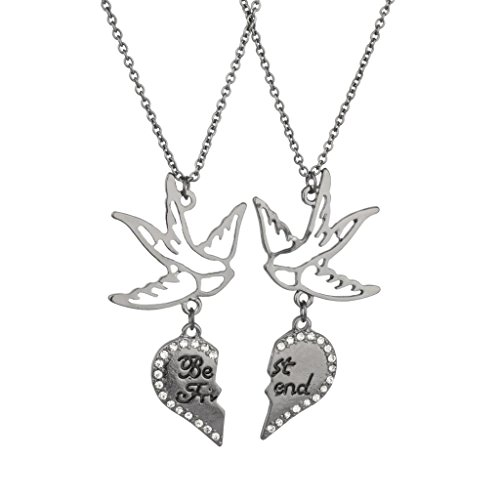 Lux Accessories Dove Best Friends Forever BFF Pave Bird Necklaces (2 PC).
