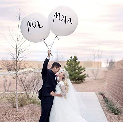 36 inch Mr. & Mrs. Balloons Wedding Balloons for Outdoor Or Indoor Engagement Party Decorations Bachelorette Party Reception Entrances and Photo Backdrops
