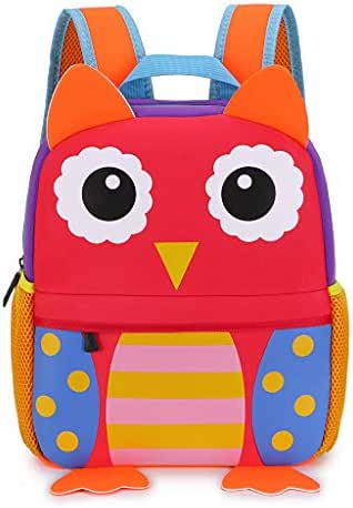 Hipiwe Little Kid Toddler Backpack Baby Boys Girls Kindergarten Pre School Bags Cute Neoprene Cartoon Backpacks for Children 3-7 Years Old (Owl Large Size)