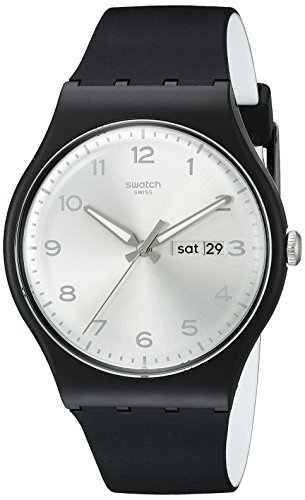 Swatch Unisex SUOB717 Originals Black Watch with Silver-Tone Dial