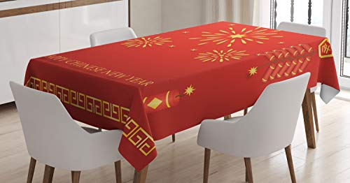 Ambesonne Chinese New Year Tablecloth, Celebration with Fireworks and Firecrackers Oriental Culture, Rectangular Table Cover for Dining Room Kitchen Decor, 60